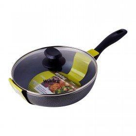 24cm Induction Wok Pan with Glass Lid