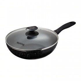 26cm Induction Wok Pan with Glass Lid